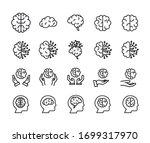 stroke line icons set of brain. ... | Shutterstock .eps vector #1699317970