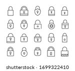 big set of lock line icons.... | Shutterstock .eps vector #1699322410