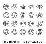 stroke line icons set of globe. ... | Shutterstock .eps vector #1699322503