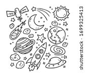 set of planets icon  hand drawn ...   Shutterstock .eps vector #1699325413
