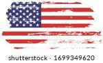 grunge usa flag. american flag... | Shutterstock .eps vector #1699349620