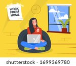 girl with laptop sitting on the ... | Shutterstock .eps vector #1699369780