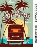 surfer orange bus  van  camper... | Shutterstock .eps vector #1699373023