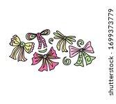 beautiful pattern bows. apple.... | Shutterstock .eps vector #1699373779