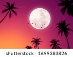 tropical night. full moon and...   Shutterstock . vector #1699383826