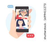 video call concept. family with ...   Shutterstock .eps vector #1699411273