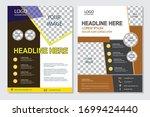 yellow and brown elegant flyer... | Shutterstock .eps vector #1699424440