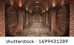 background of wine barrels in... | Shutterstock . vector #1699431289