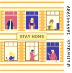 stay home concept. house facade ... | Shutterstock .eps vector #1699445989
