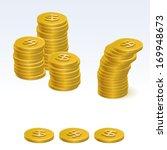 gold dollar coin stack vector...   Shutterstock .eps vector #169948673