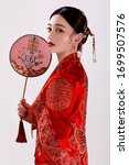 Asian Women In Ancient Red Wit...