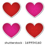 set of four red and pink... | Shutterstock .eps vector #169954160