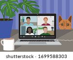 working from home during covid... | Shutterstock .eps vector #1699588303