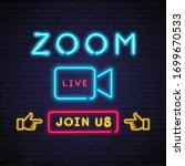 zoom video meeting neon light... | Shutterstock .eps vector #1699670533