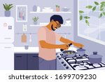 stay home and cook healthy food ... | Shutterstock .eps vector #1699709230