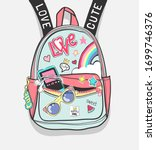colorful cartoon backpack with... | Shutterstock .eps vector #1699746376