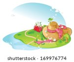 a very large hat with a pink...   Shutterstock . vector #169976774