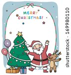 santa and a reindeer next to a... | Shutterstock . vector #169980110