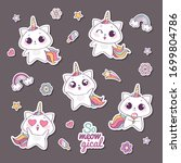 set of cute vector unicorn cats ... | Shutterstock .eps vector #1699804786