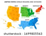 map of united states split into ... | Shutterstock .eps vector #1699805563