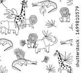 safari outline vector seamless... | Shutterstock .eps vector #1699810579