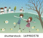 two girls lay in a field with a ... | Shutterstock . vector #169983578