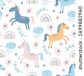 childish seamless pattern with... | Shutterstock .eps vector #1699882960