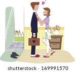 a wife ties the tie of a... | Shutterstock . vector #169991570