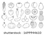 collection of hand drawn fruits ... | Shutterstock .eps vector #1699944610