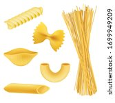 different pasta shapes  ... | Shutterstock .eps vector #1699949209
