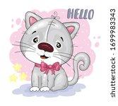 cute cartoon cat. vector print. ...   Shutterstock .eps vector #1699983343