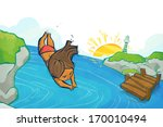 a girl dives into a river from... | Shutterstock . vector #170010494