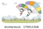 A Boy And Girl Parachuting Wit...