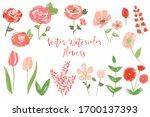 vector watercolor flowers set... | Shutterstock .eps vector #1700137393