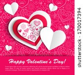 paper hearts valentine day card ...   Shutterstock .eps vector #170017394