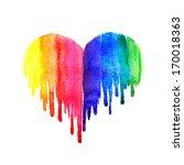 Rainbow Watercolor Heart On...