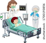coronavirus theme with sick boy ...   Shutterstock .eps vector #1700193856