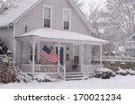 an american flag flies proudly... | Shutterstock . vector #170021234