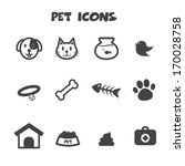pet icons, mono vector symbols - stock vector