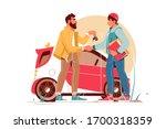 bearded businessman giving keys ...   Shutterstock .eps vector #1700318359