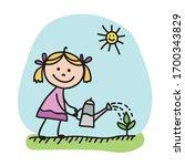 Cute Cartoon Girl With Watering ...