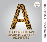 leopard skin alphabet and digit ... | Shutterstock .eps vector #170037098