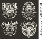 vintage hunting labels with... | Shutterstock . vector #1700392120