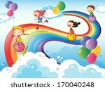 arc,balloons,blue,bounce,boy,cartoon,children,circle,clouds,colorful,drawing,enjoy,female,gentleman,girls