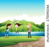 illustration of the three kids... | Shutterstock .eps vector #170040266