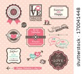 valentine's day elements labels ... | Shutterstock .eps vector #170041448