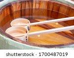 Sake Barrel And Two Ladles
