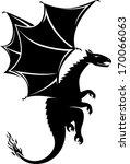 dragon silhouette  illustration ... | Shutterstock .eps vector #170066063