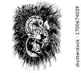 vector sketch of lion's head   Shutterstock .eps vector #1700674039