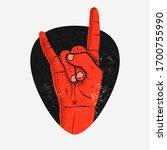 red rock hand gesture coming... | Shutterstock .eps vector #1700755990